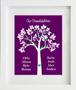 Personalised Purple Our/My Grandchildren Family Tree Print